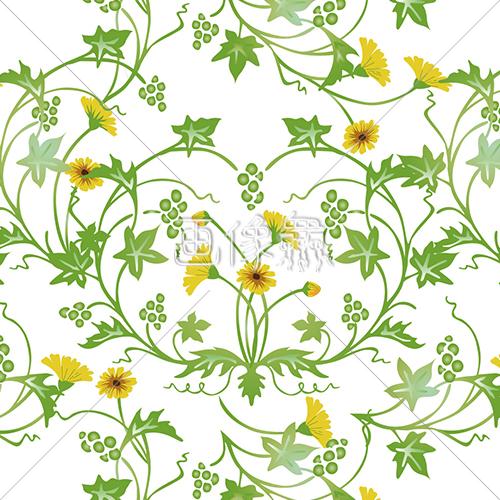 さわやかな草花のパターン模様素材イエロー 画像衆デザインを簡単
