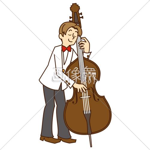 コントラバスを弾いている男性のイラスト 画像衆デザインを簡単