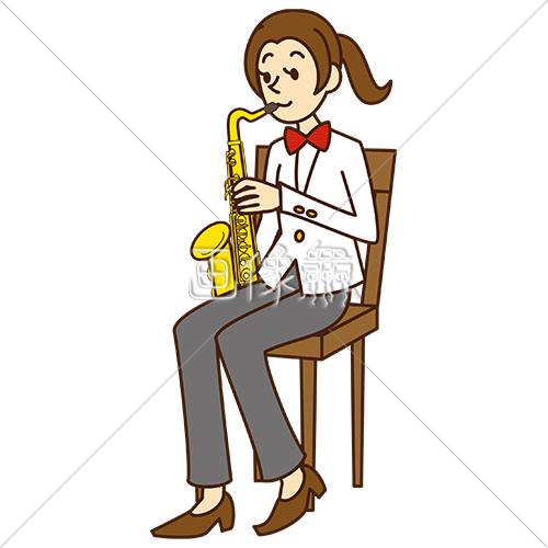 サックスを吹いている女性1のイラスト素材 画像衆デザインを簡単