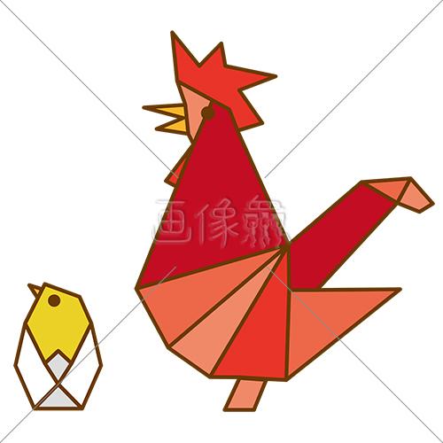 折り紙のようなニワトリのイラスト素材6 画像衆デザインを簡単
