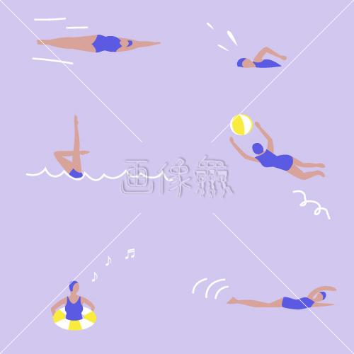 水着で泳ぐ人たちのカラフルなパターン素材2 画像衆デザインを簡単
