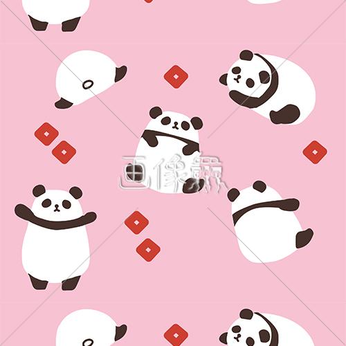 パンダのキャラクター柄シームレス模様素材 画像衆デザインを簡単